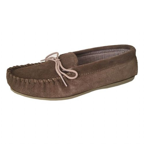 Moccasin Slippers Cotton Lined Size 3 Beige
